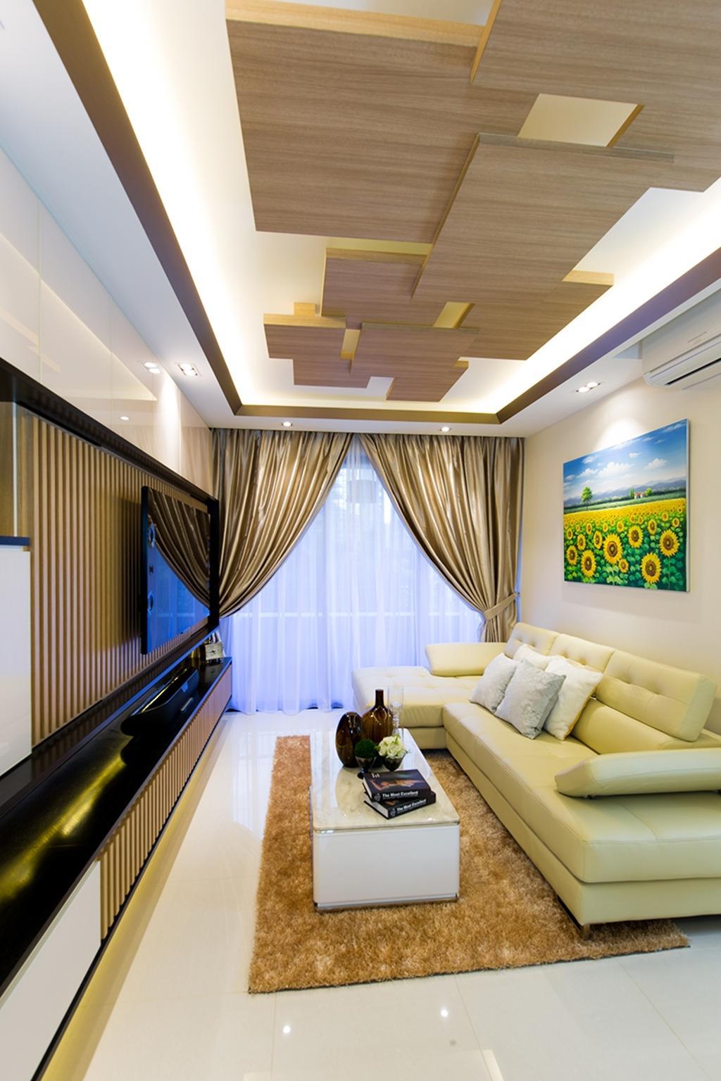 Modern, Condo, Living Room, Prive, Interior Designer, Thom Signature Design, Cream Sofa, Wood Ceiling, Console