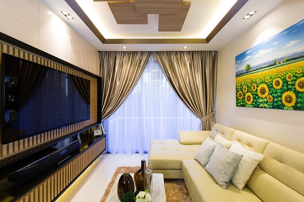 Modern, Condo, Living Room, Prive, Interior Designer, Thom Signature Design, Wood Ceiling, Cream Sofa, Art, Console