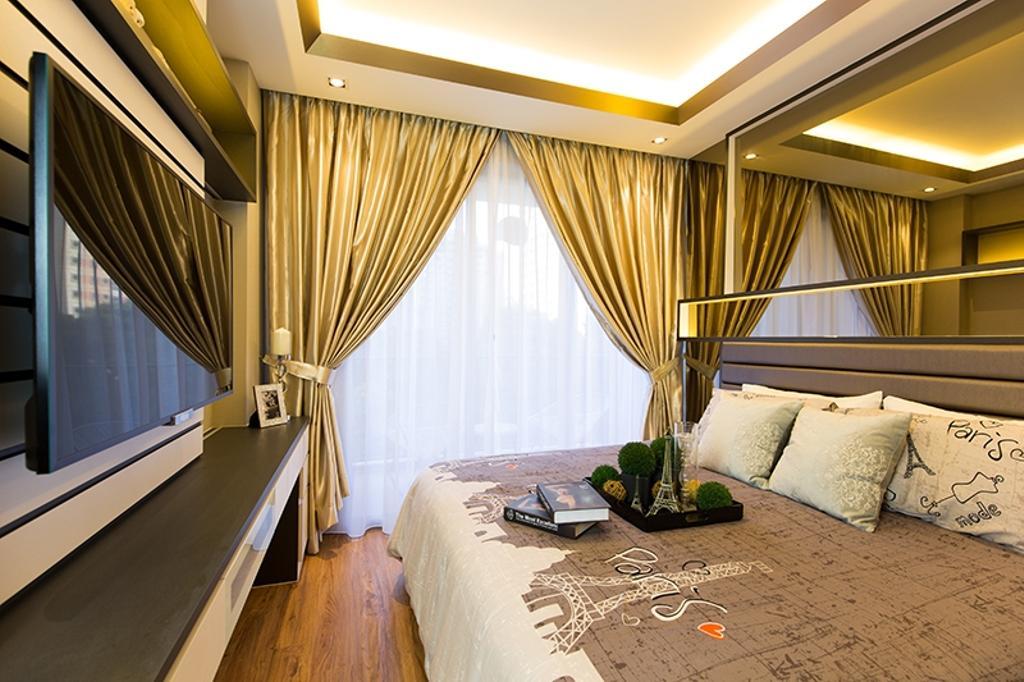 Modern, Condo, Bedroom, Prive, Interior Designer, Thom Signature Design, Parquet, Gold Curtain, Concealed Lighting, Cove Light