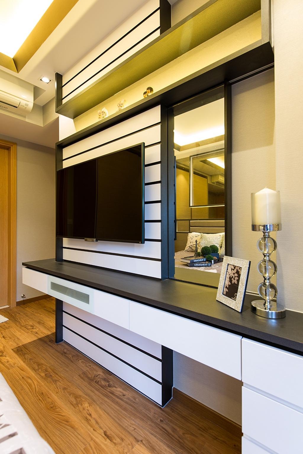 Modern, Condo, Bedroom, Prive, Interior Designer, Thom Signature Design, White Laminate, Candle, Parquet