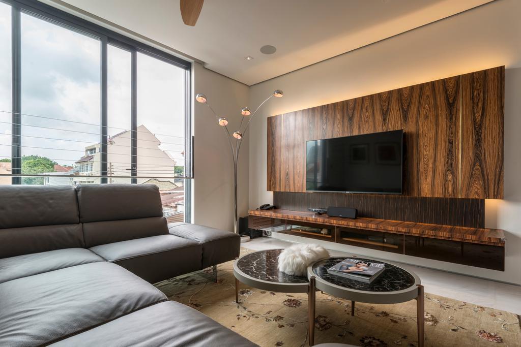 Modern, Landed, Living Room, Huddington Avenue, Interior Designer, 9 Creation, Contemporary, Couch, Furniture, Electronics, Entertainment Center, Home Theater