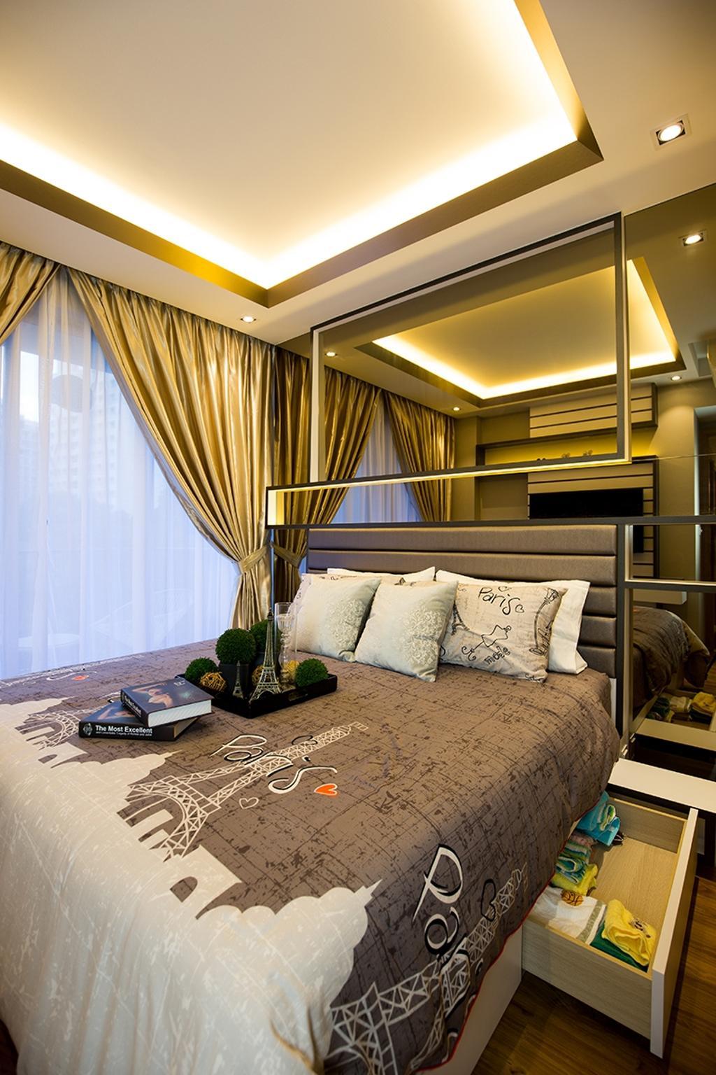Modern, Condo, Bedroom, Prive, Interior Designer, Thom Signature Design, Concealed Lighting, Curtain, Cove Light, Mirror, Hidden Storage