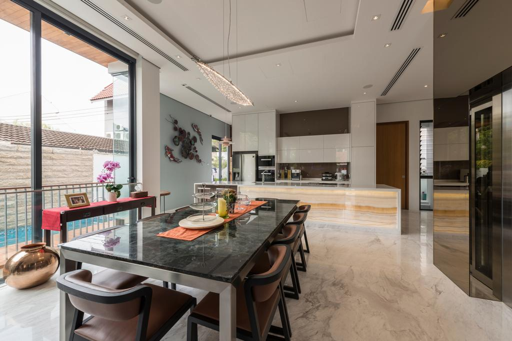 Modern, Landed, Dining Room, Huddington Avenue, Interior Designer, 9 Creation, Contemporary, Modern Contemporary Dining Room, Marble Floor, Roll Down Curtain, Dining Table, Dining Chair, Spacious, Human, People, Person, Furniture, Table, Indoors, Interior Design, Room, Sink, Kitchen