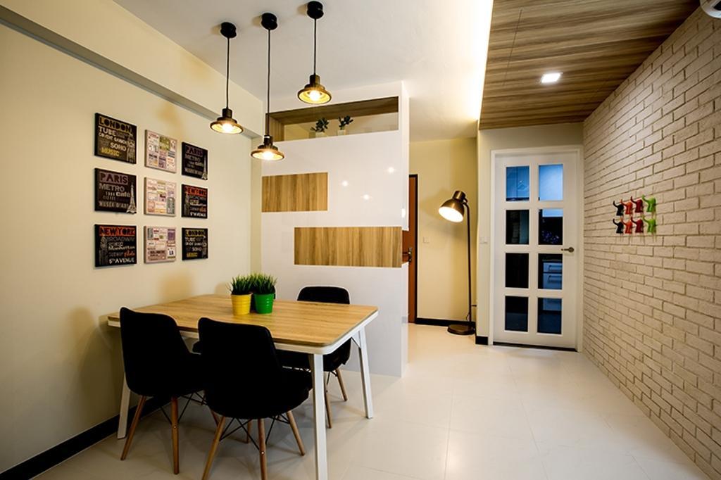 Scandinavian, HDB, Dining Room, Punggol Field (Block 261C), Interior Designer, Thom Signature Design, Hanging Light, Brick Wall, Wooden Ceiling