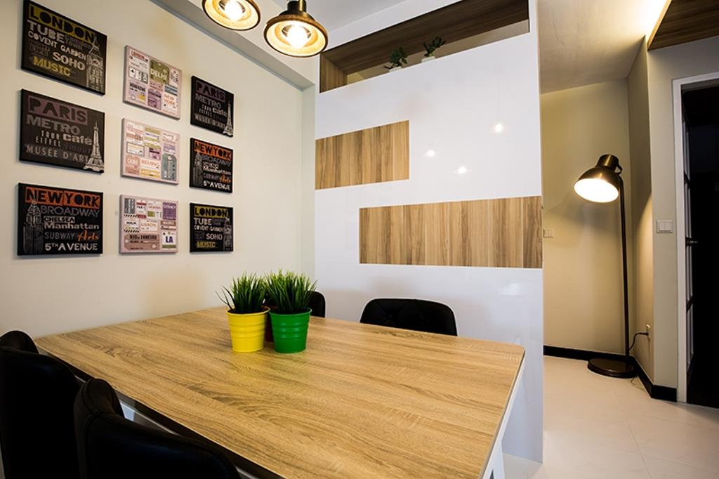 Scandinavian, HDB, Dining Room, Punggol Field (Block 261C), Interior Designer, Thom Signature Design, Wall Art, Standing Lamp, Wood Laminate