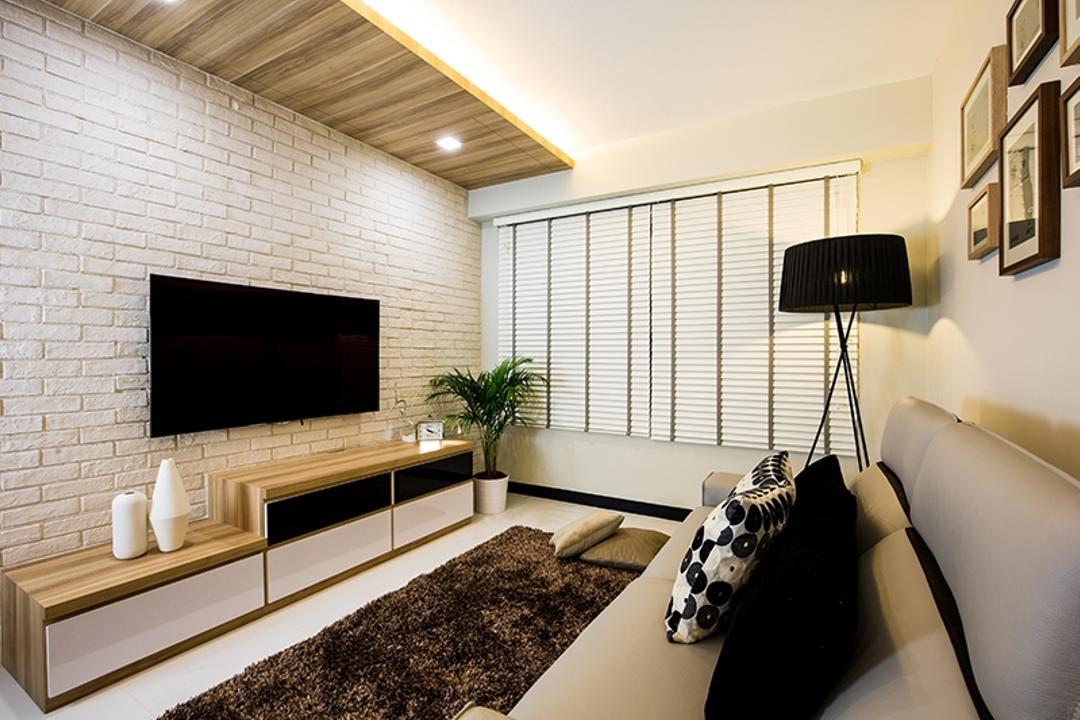 Punggol Field (Block 261C), Thom Signature Design, Scandinavian, Living Room, HDB, Brick Wall, Laminate, Wood, Venetian Blinds, Standing Lamp, Frames