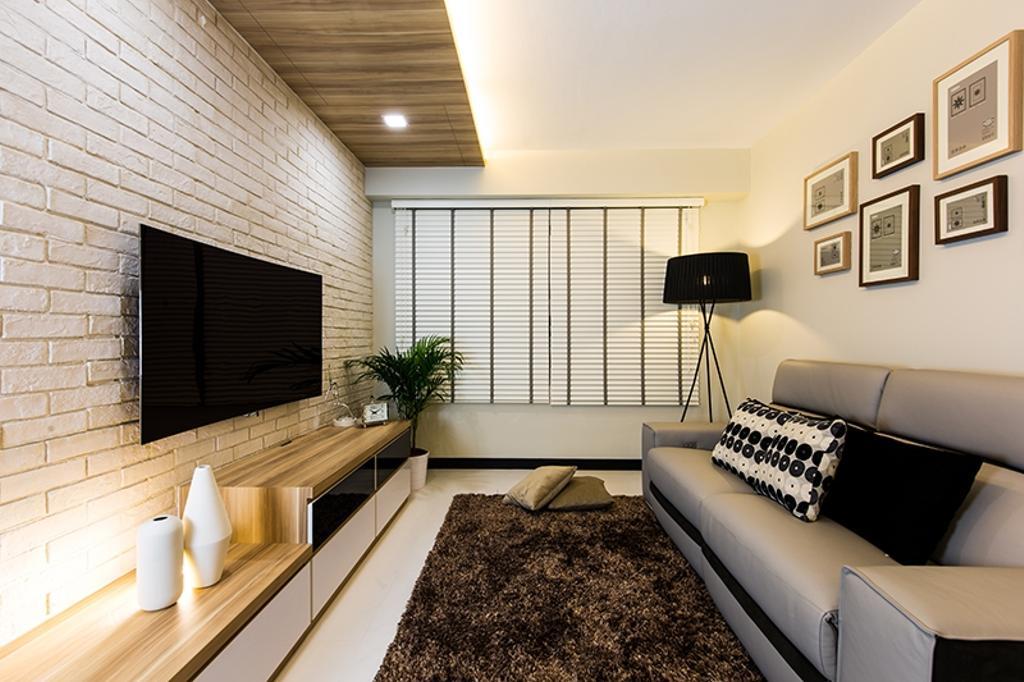 Scandinavian, HDB, Living Room, Punggol Field (Block 261C), Interior Designer, Thom Signature Design, Wooden Ceiling, Brick Wall, Venetian Blinds, Frames