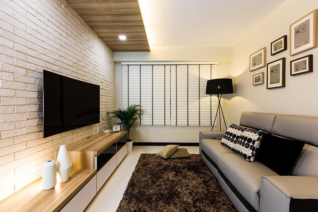 Punggol Field (Block 261C), Thom Signature Design, Scandinavian, Living Room, HDB, Wooden Ceiling, Brick Wall, Venetian Blinds, Frames