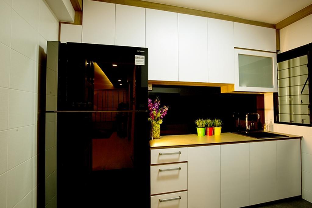 Scandinavian, HDB, Kitchen, Punggol Field (Block 261C), Interior Designer, Thom Signature Design, White Laminate