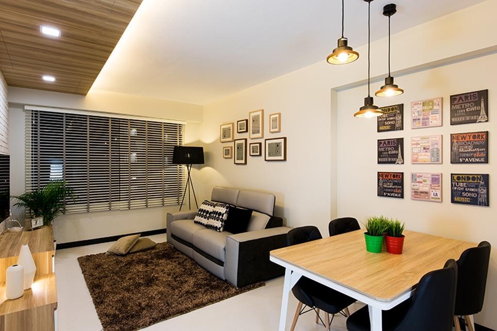 Scandinavian, HDB, Dining Room, Punggol Field (Block 261C), Interior Designer, Thom Signature Design, Standing Lamp, Hanging Light, Frames, Venetian Blinds