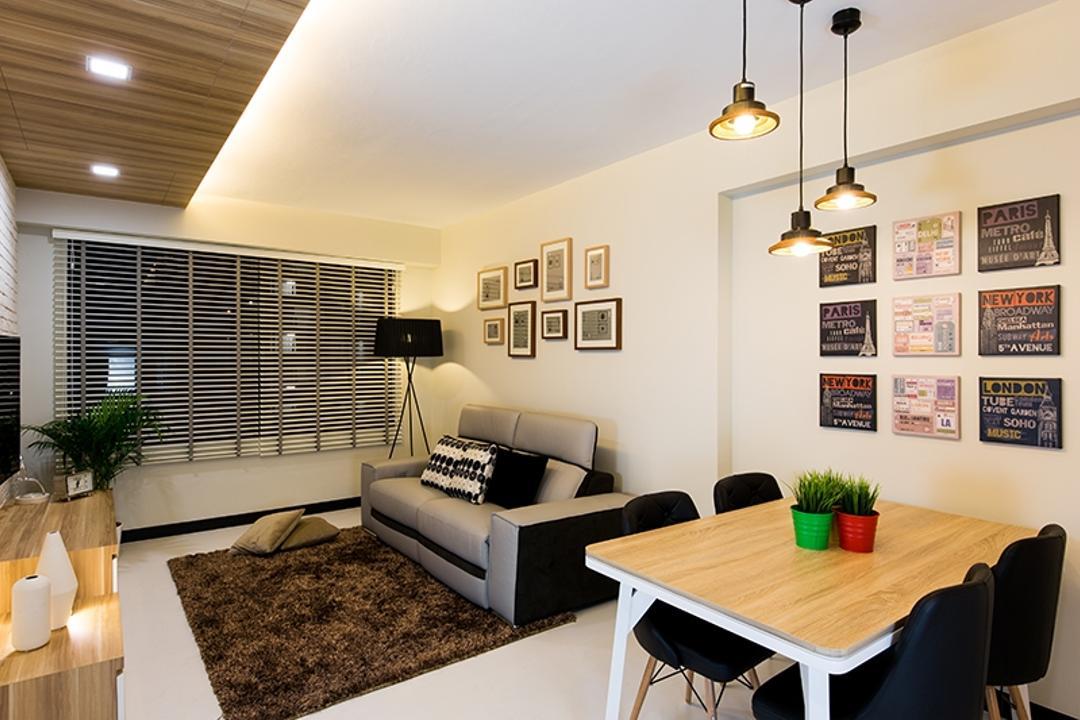 Punggol Field (Block 261C), Thom Signature Design, Scandinavian, Dining Room, HDB, Standing Lamp, Hanging Light, Frames, Venetian Blinds
