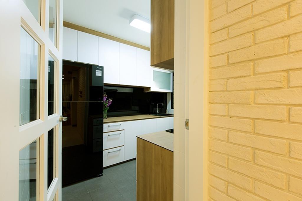 Scandinavian, HDB, Kitchen, Punggol Field (Block 261C), Interior Designer, Thom Signature Design, Brick Wall