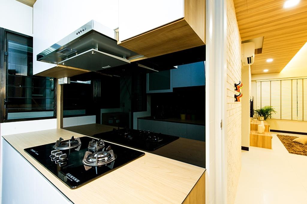 Scandinavian, HDB, Kitchen, Punggol Field (Block 261C), Interior Designer, Thom Signature Design, Kitchen Laminate