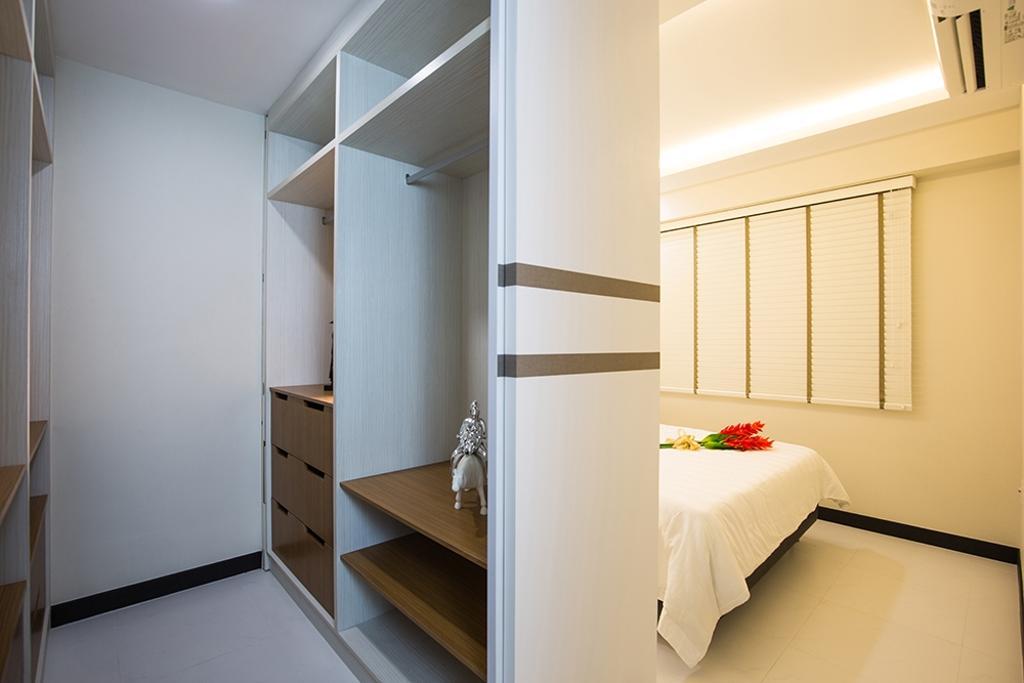 Scandinavian, HDB, Bedroom, Punggol Field (Block 261C), Interior Designer, Thom Signature Design, Wardrobe, Closet, Venetian Blinds