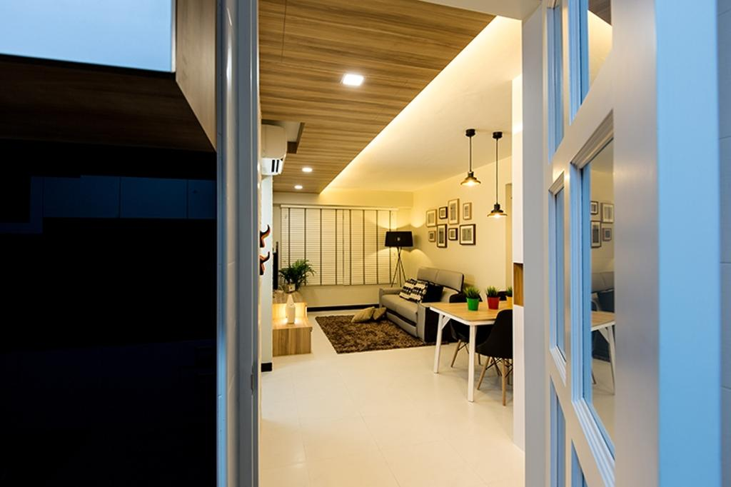 Scandinavian, HDB, Dining Room, Punggol Field (Block 261C), Interior Designer, Thom Signature Design, Wood Ceiling