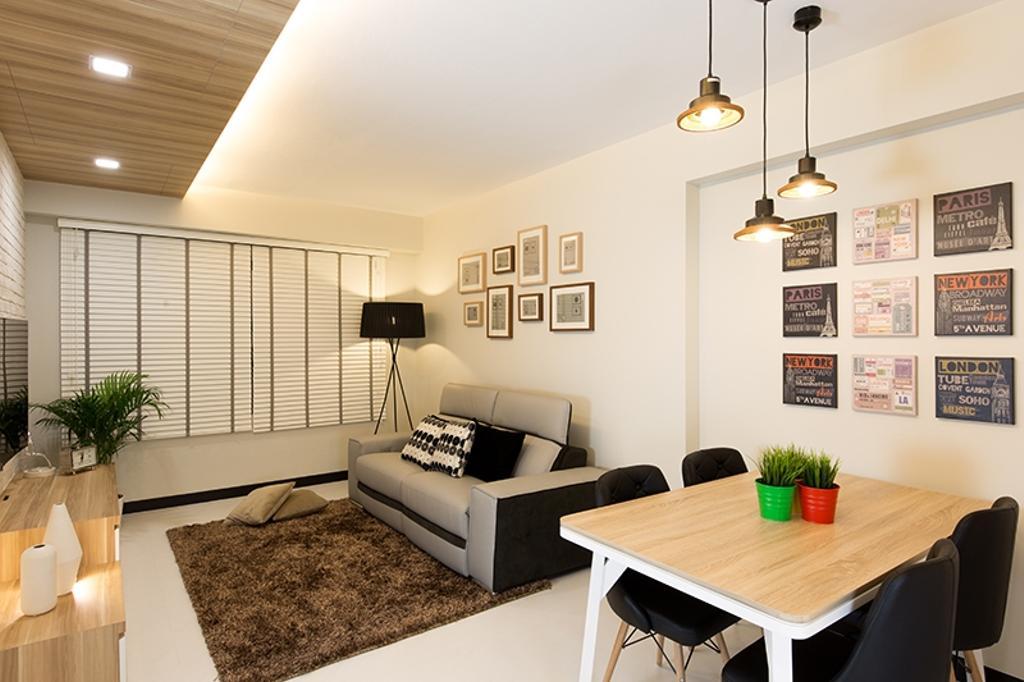 Scandinavian, HDB, Dining Room, Punggol Field (Block 261C), Interior Designer, Thom Signature Design, Concealed Lighting, Hanging Light, Venetian Blinds, Frames