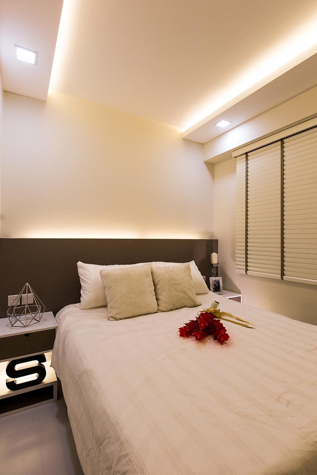 Scandinavian, HDB, Bedroom, Punggol Field (Block 261C), Interior Designer, Thom Signature Design, Venetian Blinds, Concealed Lighting