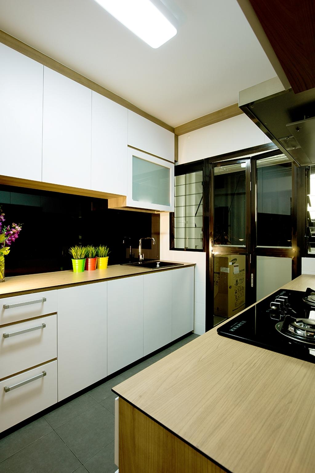 Scandinavian, HDB, Kitchen, Punggol Field (Block 261C), Interior Designer, Thom Signature Design, White Laminate, Wood