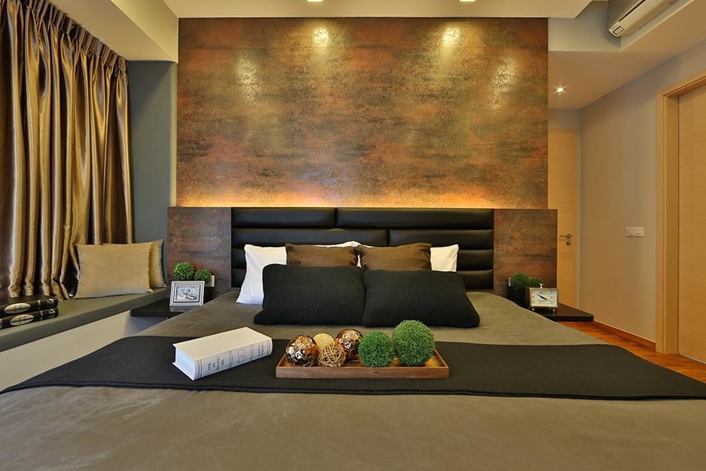 Scandinavian, Condo, Bedroom, NV Residence (Block 10), Interior Designer, Thom Signature Design, Bay Window, Headboard