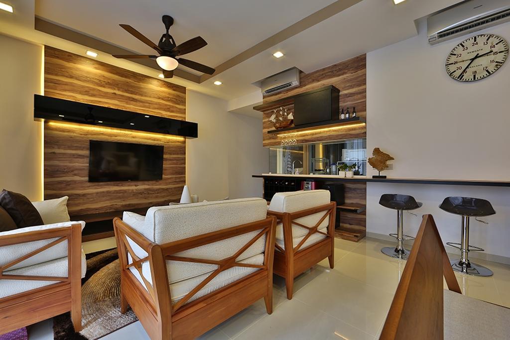 Scandinavian, Condo, Living Room, NV Residence (Block 10), Interior Designer, Thom Signature Design, Wood Laminate, Feature Wall, Bar Stool