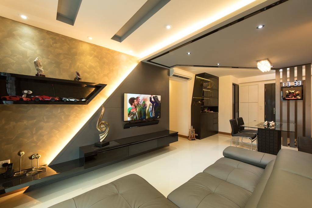 Traditional, HDB, Living Room, Punggol Drive, Interior Designer, Yujia Interior Design, Modern Contemporary Living Room, Recessed Lights, Hidden Interior Lighting, Sectional Sofa, Wall Mounted Television, Wall Mounted Television Console, Built In Shelves