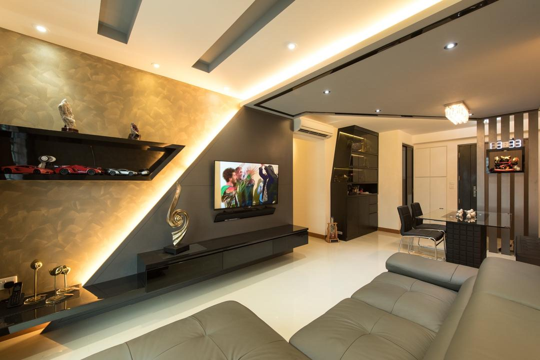 Punggol Drive, Yujia Interior Design, Traditional, Living Room, HDB, Modern Contemporary Living Room, Recessed Lights, Hidden Interior Lighting, Sectional Sofa, Wall Mounted Television, Wall Mounted Television Console, Built In Shelves