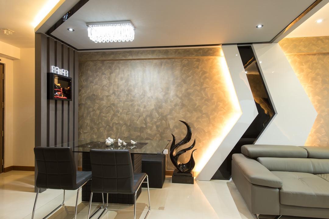 Punggol Drive, Yujia Interior Design, Traditional, Dining Room, HDB, Modern Contemporary Dining Room, Black Dining Table, Black Dining Chair, Ceiling Lights, Recessed Lights, Hidden Interior Lighting