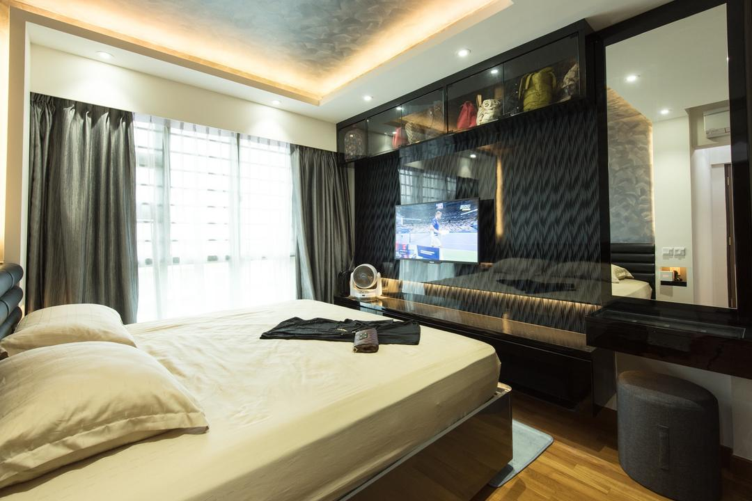 Punggol Drive, Yujia Interior Design, Traditional, Bedroom, HDB, , Modern Contemporary Bedroom, King Size Bed, Hidden Interior Lighting, Coffered Ceiling, Recessed Lights, Sling Curtain, Wooden Floor, Cozy, Cosy, Wall Mounted Ceiling, Wall Mounted Mirror
