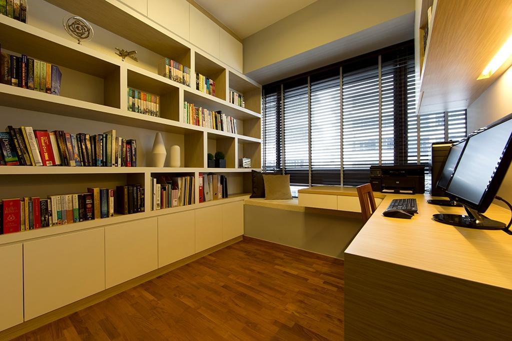 Scandinavian, Condo, Study, NV Residence (Block 10), Interior Designer, Thom Signature Design, Parquet, Bookshelf, Book Shelf
