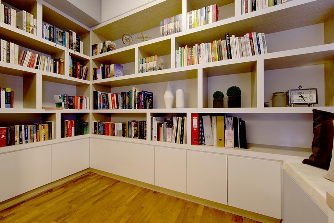 NV Residence (Block 10), Thom Signature Design, Scandinavian, Study, Condo, Book Shelf, White Laminate, Parquet, Wooden Flooring