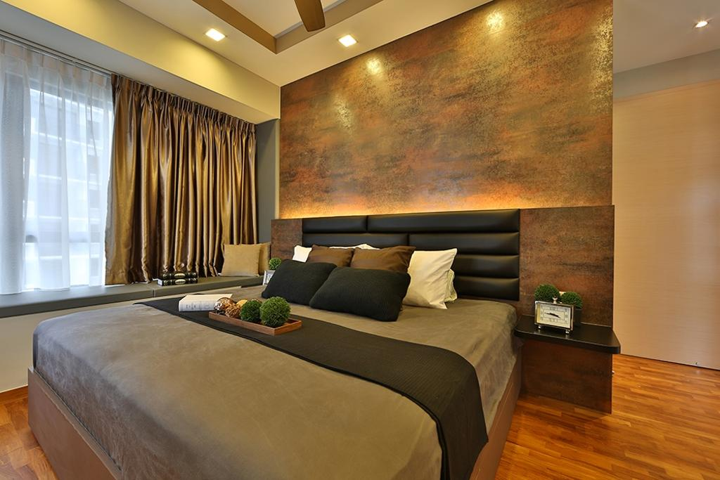 Scandinavian, Condo, Bedroom, NV Residence (Block 10), Interior Designer, Thom Signature Design, Concealed Lighting, Headboard, Parquet, Bay Window