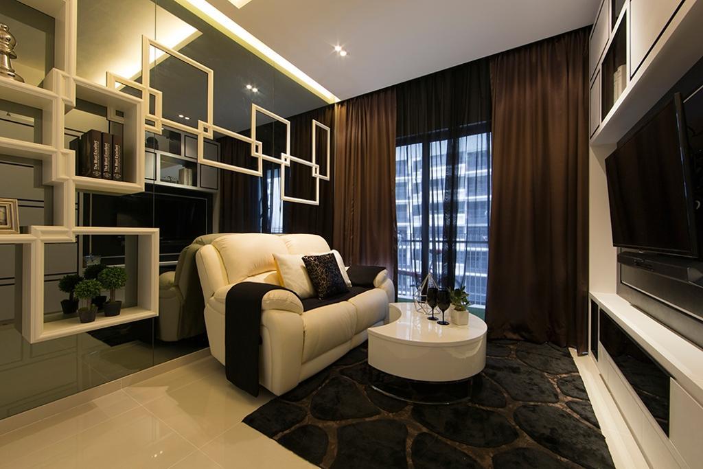 Contemporary, Condo, Living Room, NV Residence (Block 8), Interior Designer, Thom Signature Design, Mirror Backdrop, Curtain, Rug, Coffee Table, Display Cabinet, Sofa