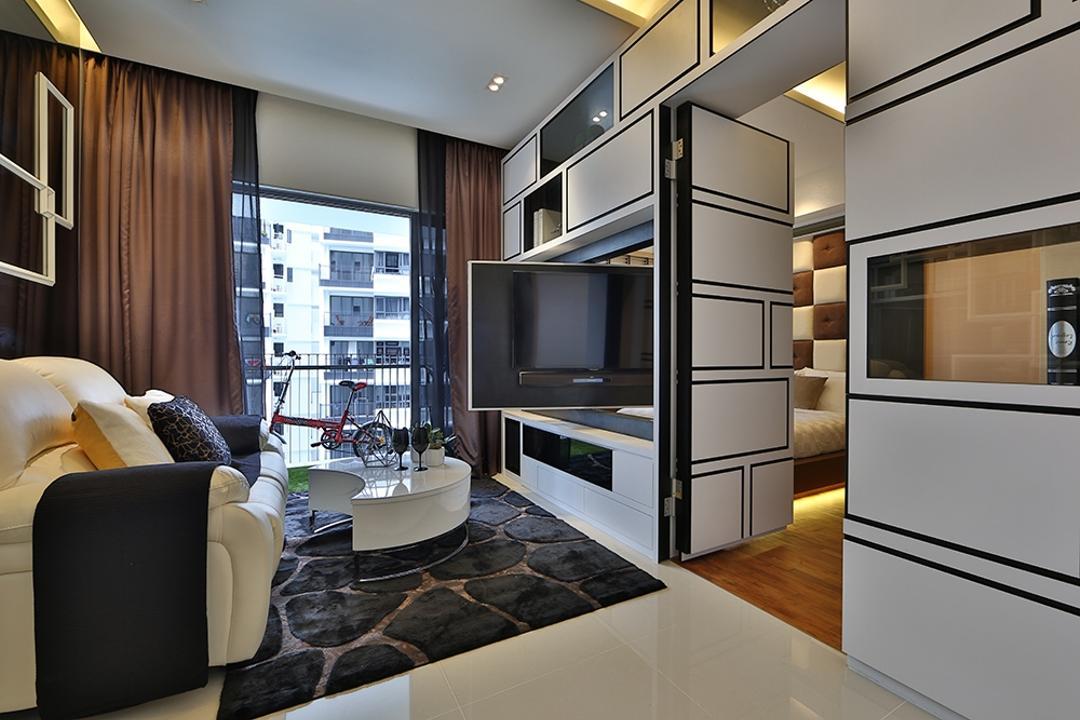 NV Residence (Block 8), Thom Signature Design, Contemporary, Living Room, Condo, Carpet, Concealed Lighting, Cove Light, White Laminate