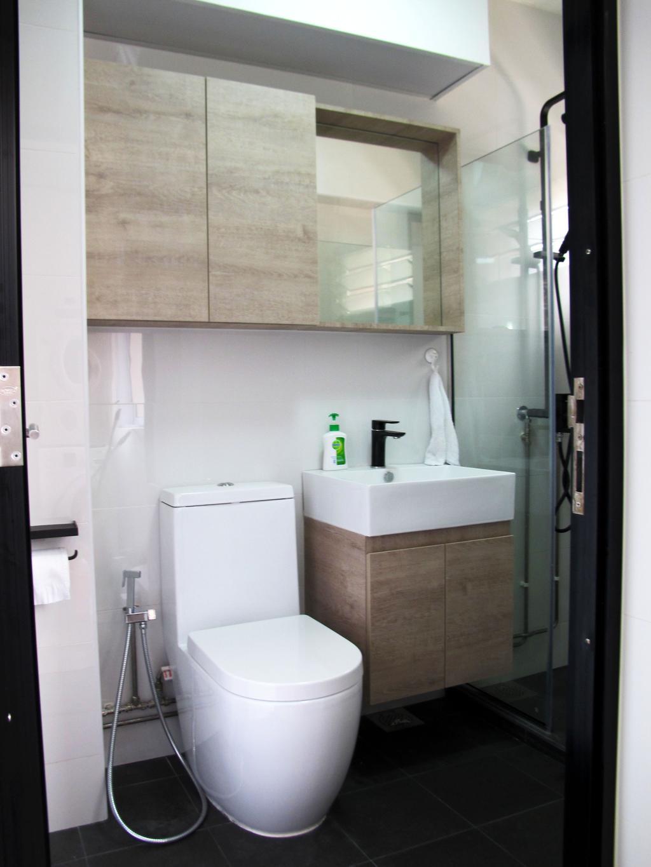 Modern, HDB, Bathroom, Kim Tian, Interior Designer, Colourbox Interior, Modern Contemporary Bathroom, Wooden Bathroom Cabinet, Protruding Sink, Black Ceramic Floor, Indoors, Interior Design, Room