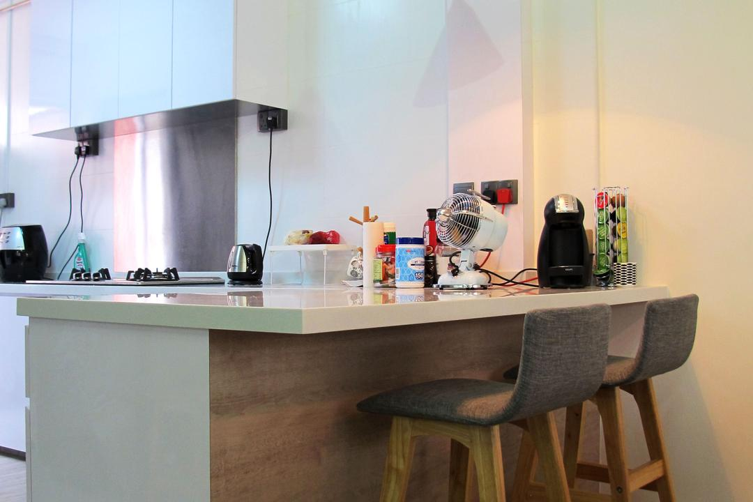 Kim Tian, Colourbox Interior, Modern, Kitchen, HDB, White Laminated Kitchen Countertop, Wooden Kitchen Counter, Wooden Kitchen Chair, Wooden Floor, Hanging Lights, White Kitchen Cabinet, White Kitchen Cupboard, Electric Fan, Chair, Furniture, Shelf, Desk, Table