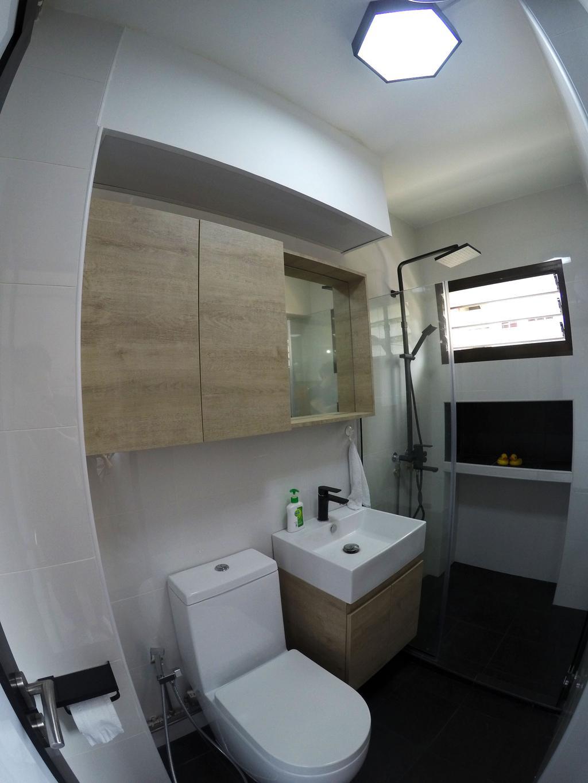 Modern, HDB, Bathroom, Kim Tian, Interior Designer, Colourbox Interior, Modern Contemporary Bathroom, Ceiling Light, Wooden Bathroom Cabinet, Protruding Sink, Black Ceramic Floor, Indoors, Interior Design, Room