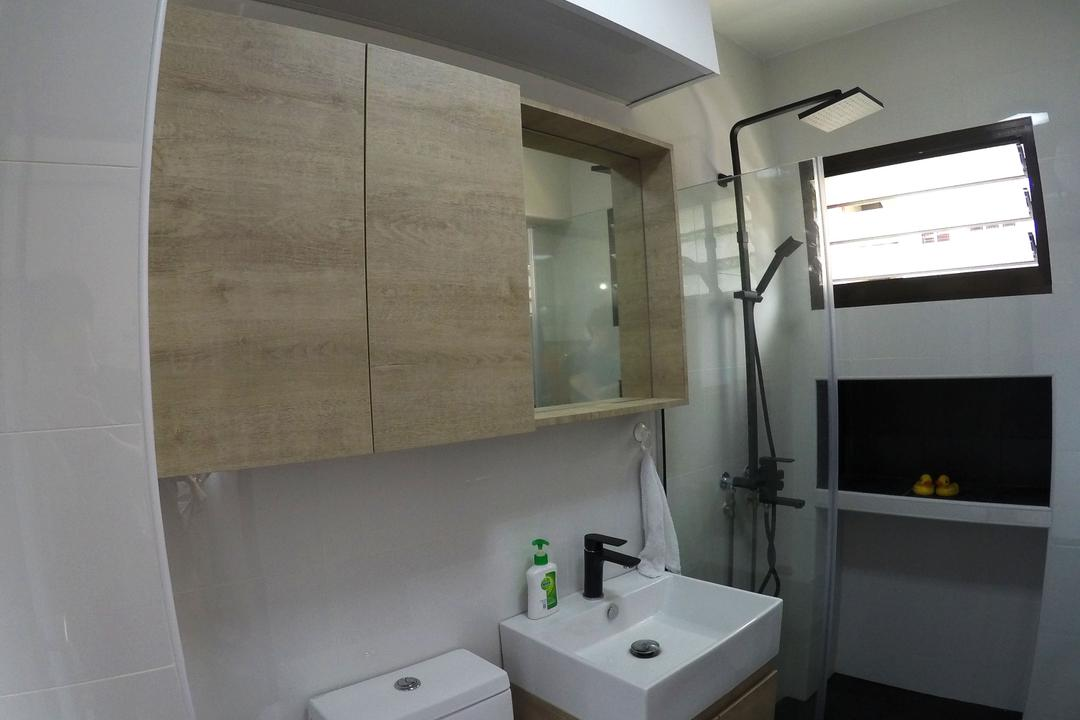 Kim Tian, Colourbox Interior, Modern, Bathroom, HDB, Modern Contemporary Bathroom, Ceiling Light, Wooden Bathroom Cabinet, Protruding Sink, Black Ceramic Floor, Indoors, Interior Design, Room