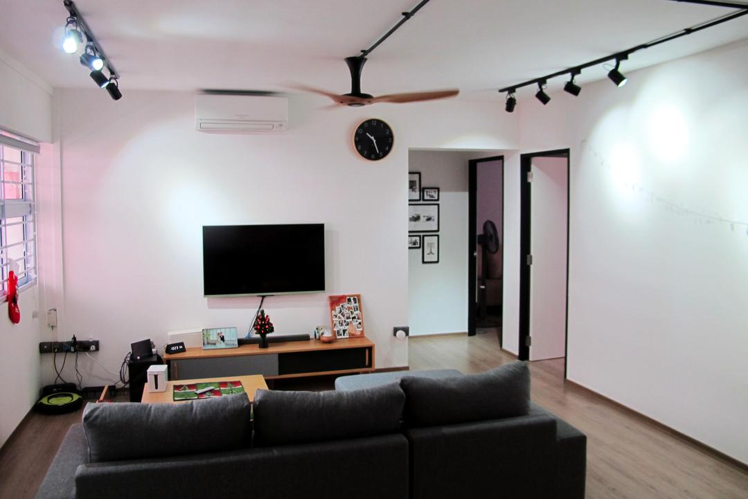 Kim Tian, Colourbox Interior, Modern, Living Room, HDB, Modern Contemporary Living Room, Track Lights, Black Sofa, Wooden Floor, Wall Mounted Television, Wooden Television Console, Ceiling Fan, Couch, Furniture, Building, Housing, Indoors, Loft, Light Fixture