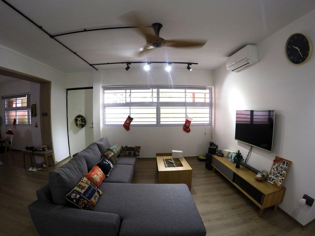 Modern, HDB, Living Room, Kim Tian, Interior Designer, Colourbox Interior, Electronics, Monitor, Screen, Tv, Television, Couch, Furniture, Indoors, Room