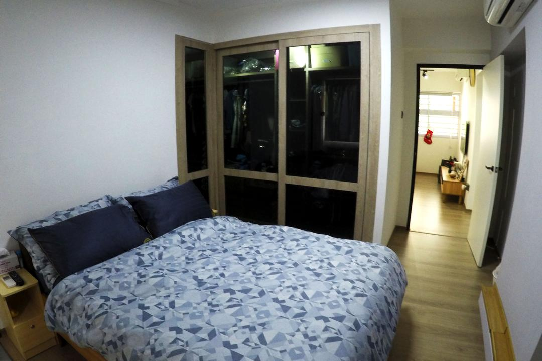 Kim Tian, Colourbox Interior, Modern, Bedroom, HDB, King Size Bed, Wooden Floor, Ceiling Lights, Modern Contemporary Bedroom, Cozy, Cosy, Black Wardrobe, Bed, Furniture