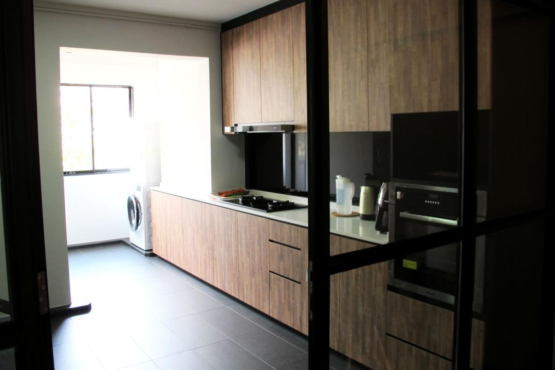 Pasir Ris Drive 6, Colourbox Interior, Modern, Kitchen, HDB, Black Ceramic Floor, Modern Contemporary Kitchen, Wooden Kitchen Cabinet, Wooden Kitchen Cupboard, White Laminated Top, Appliance, Electrical Device, Oven