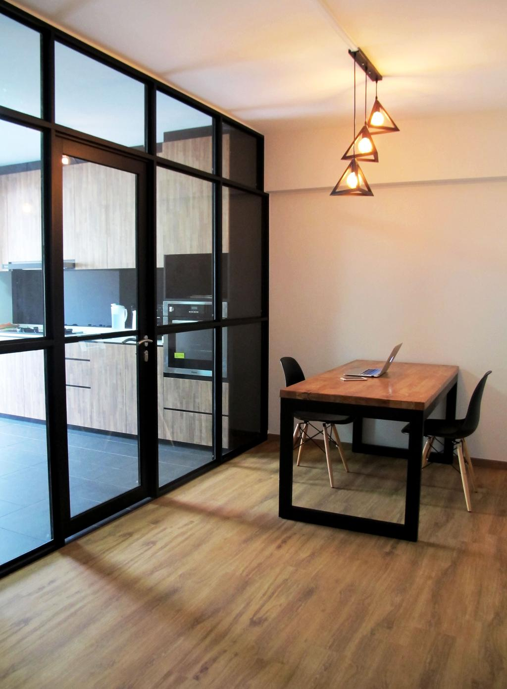 Modern, HDB, Dining Room, Pasir Ris Drive 6, Interior Designer, Colourbox Interior, Wooden Floor, Hanging Lights, Wooden Dining Table, Black Dining Chair, Glass Panel, Modern Contemporary Dining Room, Chair, Furniture, Building, Housing, Indoors, Dining Table, Table, Desk