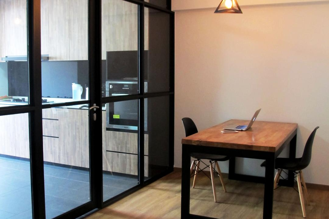 Pasir Ris Drive 6, Colourbox Interior, Modern, Dining Room, HDB, Wooden Floor, Hanging Lights, Wooden Dining Table, Black Dining Chair, Glass Panel, Modern Contemporary Dining Room, Chair, Furniture, Building, Housing, Indoors, Dining Table, Table, Desk