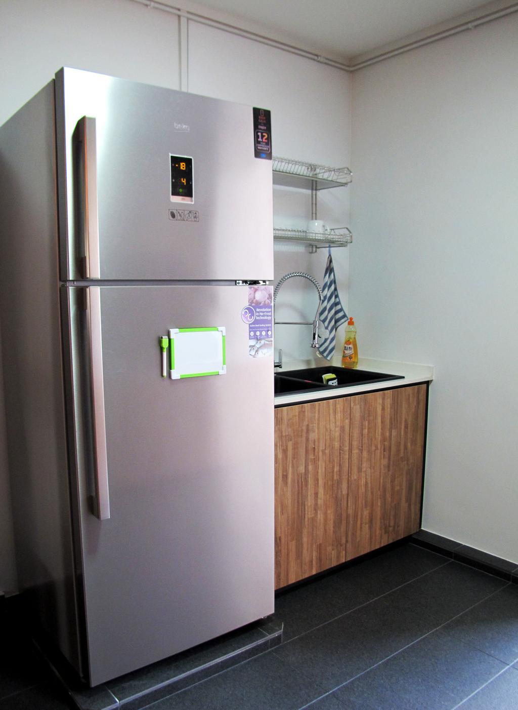 Modern, HDB, Kitchen, Pasir Ris Drive 6, Interior Designer, Colourbox Interior, Appliance, Electrical Device, Fridge, Refrigerator