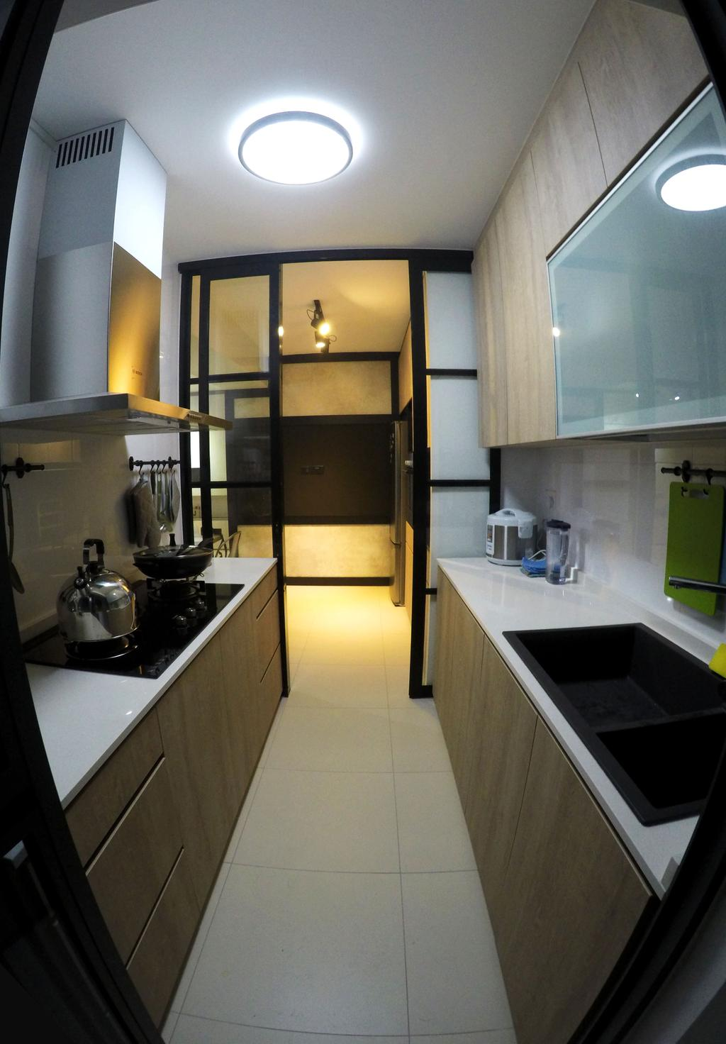 Scandinavian, HDB, Kitchen, Punggol Waterway Terrace, Interior Designer, Colourbox Interior, Ceramic Floor, Wooden Kitchen Cabinet, Wooden Kitchen Cupbaord, Ceiling Light, White Laminated Top, Modern Contemporary Kitchen, Appliance, Electrical Device, Oven, Indoors, Interior Design, Room, Sink