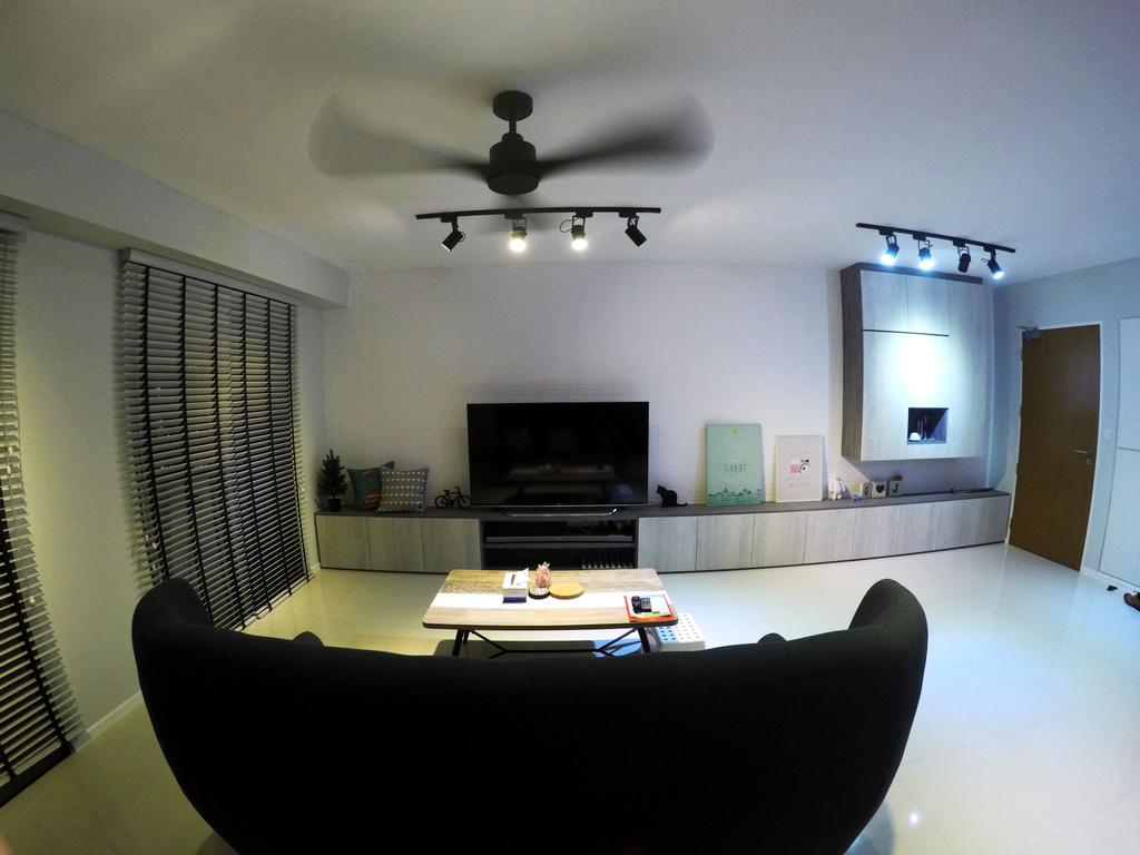Scandinavian, HDB, Living Room, Punggol Waterway Terrace, Interior Designer, Colourbox Interior, Modern Contemporary Living Room, Ceiling Fan, Track Lights, Black Sofa, Flatscreen Television, Television Console, Roll Down Curtain, Wooden Table, Wooden Door, Couch, Furniture, Indoors, Room, Fireplace, Hearth