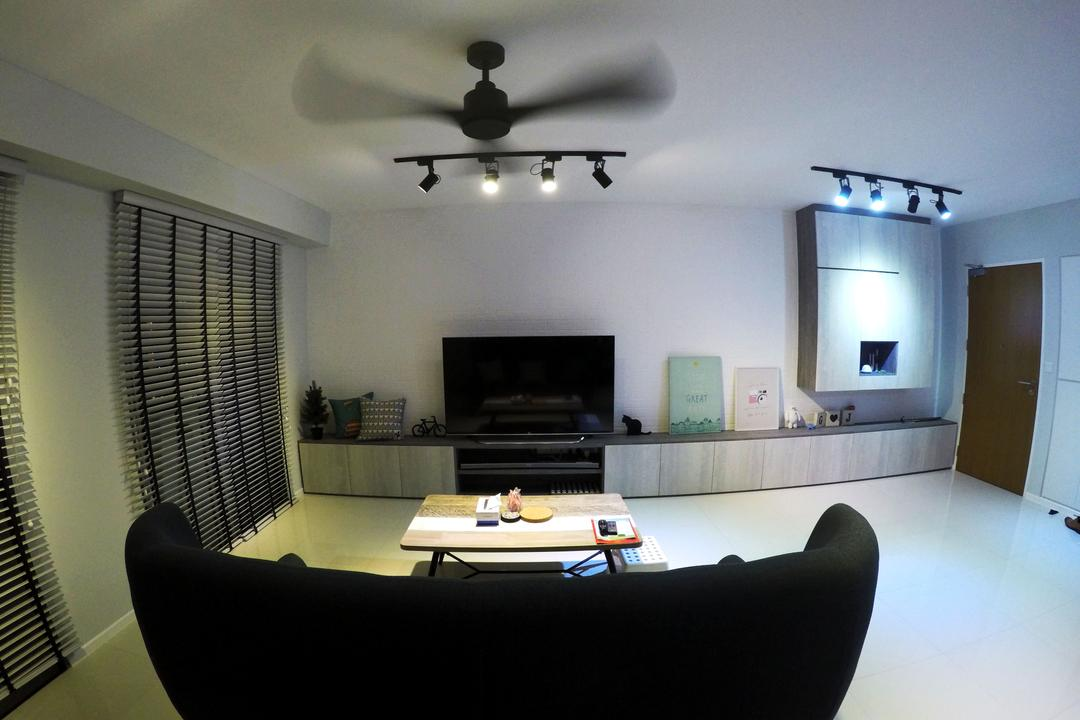 Punggol Waterway Terrace, Colourbox Interior, Scandinavian, Living Room, HDB, Modern Contemporary Living Room, Ceiling Fan, Track Lights, Black Sofa, Flatscreen Television, Television Console, Roll Down Curtain, Wooden Table, Wooden Door, Couch, Furniture, Indoors, Room, Fireplace, Hearth
