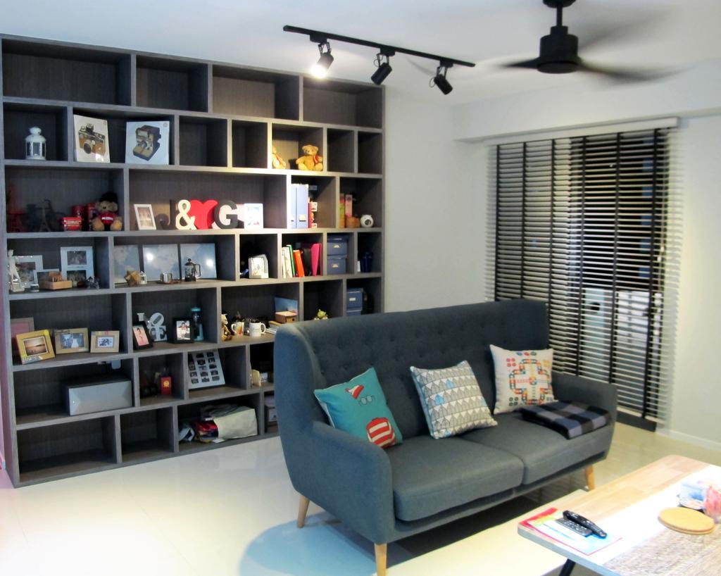 Scandinavian, HDB, Living Room, Punggol Waterway Terrace, Interior Designer, Colourbox Interior, Couch, Furniture