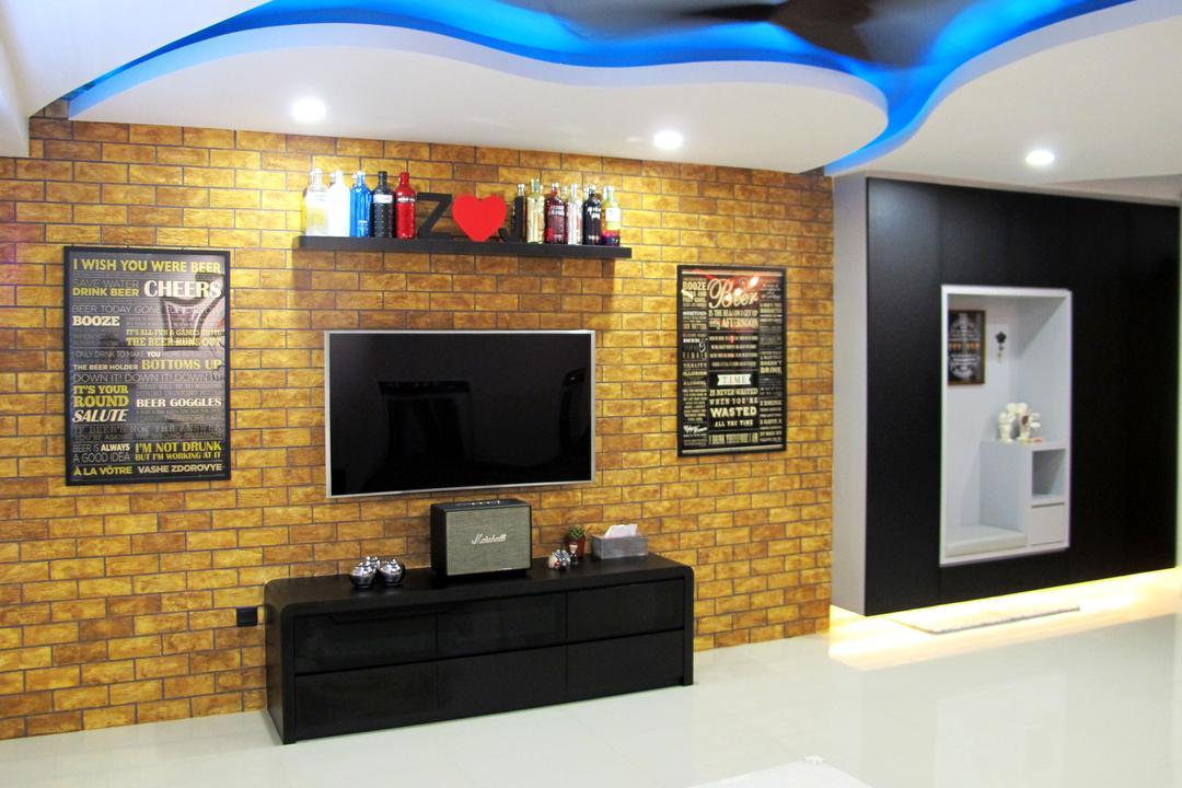 Punggol Waterway Terrace, Colourbox Interior, Modern, Living Room, HDB, Plaque, Indoors, Interior Design, Electronics, Entertainment Center, Fireplace, Hearth, Brick