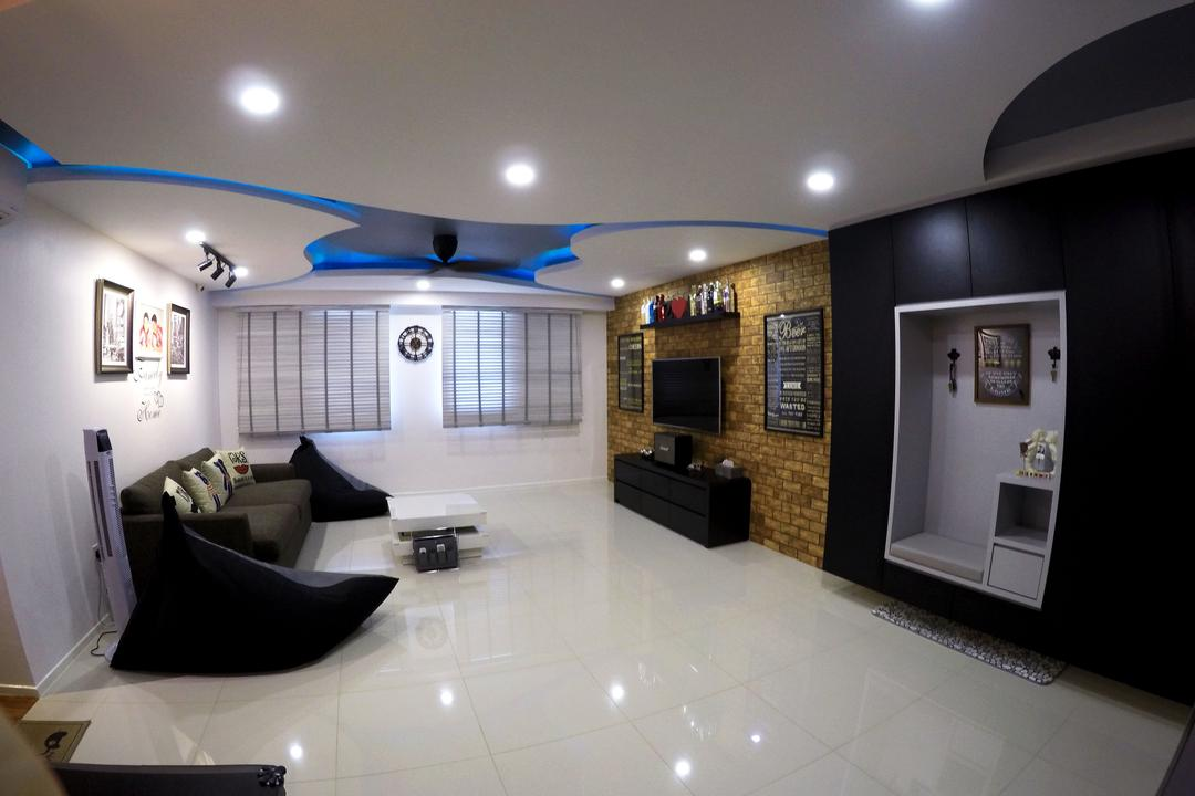 Punggol Waterway Terrace, Colourbox Interior, Modern, Living Room, HDB, Modern Contemporary Living Room, Ceiling Lights, , Recessed Lights, Spacious, Wall Mounted Television, Black Sofa, White Table, Wooden Panel, Built In Shelve, Lighting, Basement, Indoors, Room